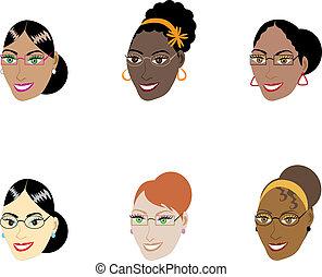 femmes, intelligent, faces
