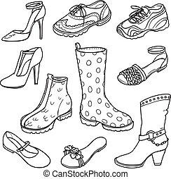 femmes, mode, différent, vecteur, ensemble, contour, s, chaussures