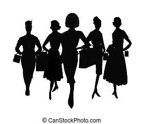 femmes, silhouette, achats