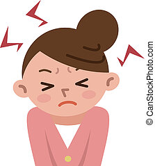 femmes, tension, frustré