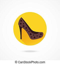 femmes, vecteur, chaussure, icône