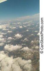 fenêtre, avion ligne, levers de soleil, aérien, par, vue