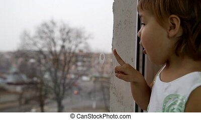 fenêtre, enfant