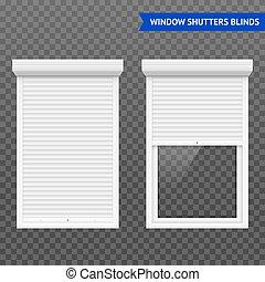fenêtre, ensemble, volets cylindre