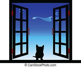 fenêtre, illustration, chat