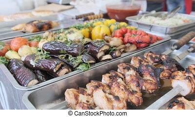 fenêtre., légumes, nourriture rue, tribunal, magasin, grillé, repas, viande
