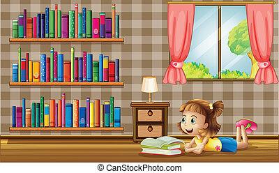 fenêtre, livres, lecture, girl