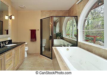 fenêtre, maître, arqué, bain