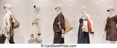 fenêtre, mode, mannequins