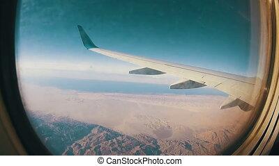 fenêtre, nuages, avion, au-dessus, vue