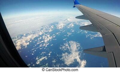 fenêtre, nuages, avion, paysage, vue