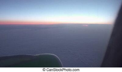 fenêtre, nuages, avion, vue