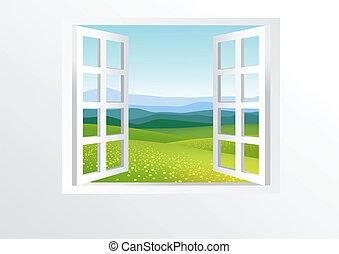 fenêtre, ouvert, nature