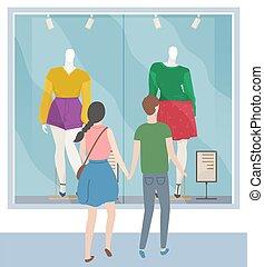 fenêtre, rue, ensemble, temps, regarder, magasin, homme, marche couples, apprécier, city., femme