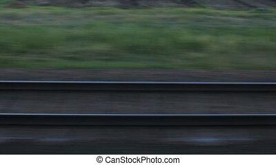 fenêtre, train, rails, vue