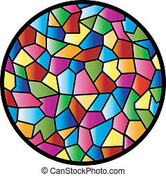 fenêtre verre, taché, circulaire