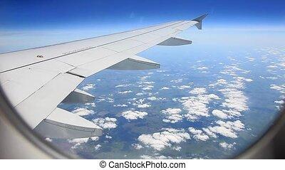 fenêtre, voler, avion, vue