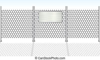 fence., vecteur, chainlink, illustration