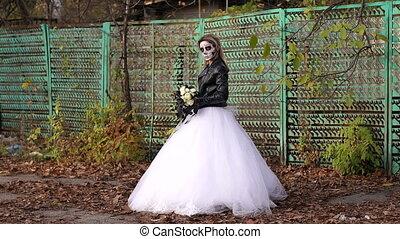 fence., vieux, crâne, formulaire, maquillage, terrifiant, mariée, fond