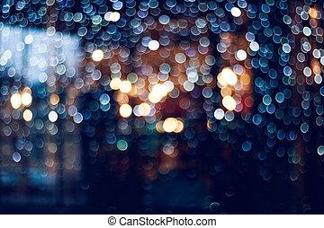 fenetres, bokeh., lumières, guirlandes, noël, flou