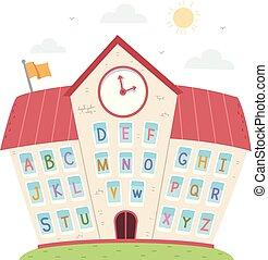 fenetres, illustration, école, alphabet