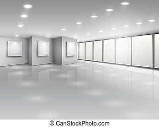 fenetres, lumière, intérieur, galerie, vide