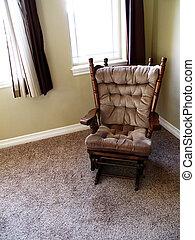 fenetres, suivant, grand, maison, fauteuil bascule