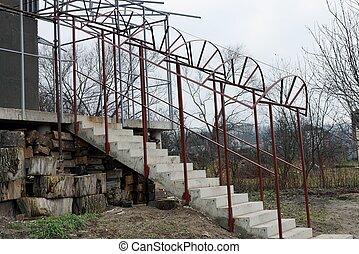 fer, gris, véranda, béton, grille, inachevé, escalier, brun, étapes