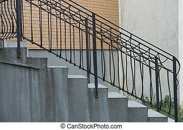 fer, noir, béton, escalier, étapes, gris, rampes