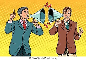 fera campagne, dialogue, gens, vendange, deux, entre, politique
