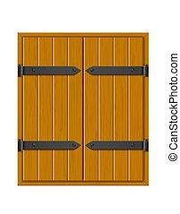 fermé, cache fenêtre, conception, vecteur, bois, illustration