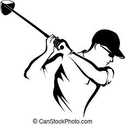 fermé, golfeur, closeup, teeing