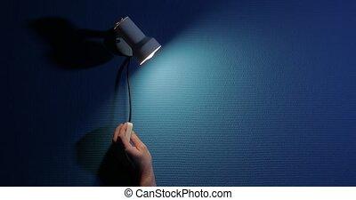 fermé, lampe, nuit, salle, tourner, sombre