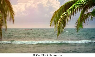 fermé, local, exotique, longtail, plage, ancre, bateau