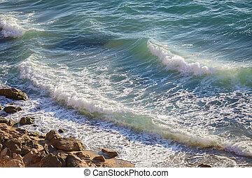 fermé, pur, vague, mer noire, crimea, côte