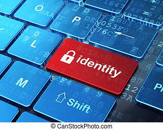 fermé, sécurité, clavier, concept:, identité, cadenas