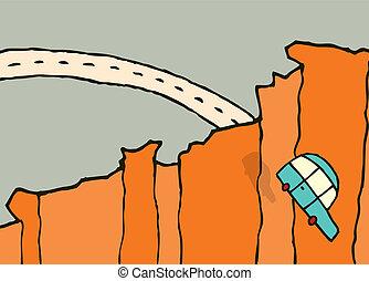 fermé, voiture, /, sauter, tomber, falaise