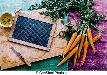 ferme, ardoise, carottes, sain, vide, frais