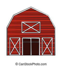 ferme, bois, bâtiment, dessin animé, grange