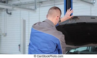 ferme, capuchon, mécanicien, service, voiture