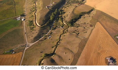 ferme, champs, prise vue aérienne, au-dessus
