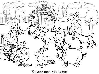 ferme, coloration, animaux, livre, dessin animé