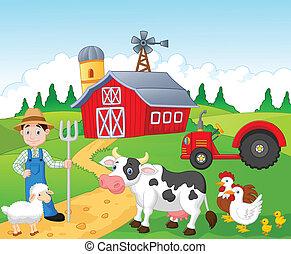 ferme, dessin animé, fonctionnement, paysan