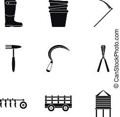 ferme, ensemble, style, simple, icône