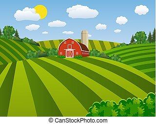 ferme, ensemencer, vert, dessin animé, champ