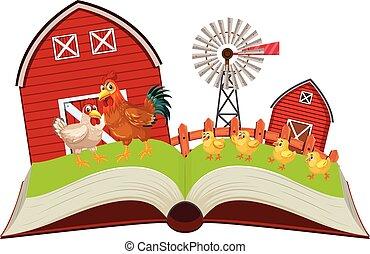 ferme, livre, poulets, haut, pop