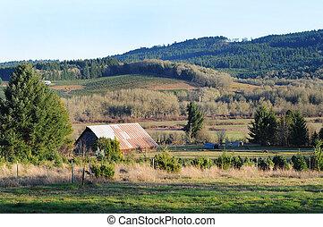 ferme, pays, rural, grange