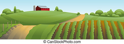 ferme, paysage, illustration