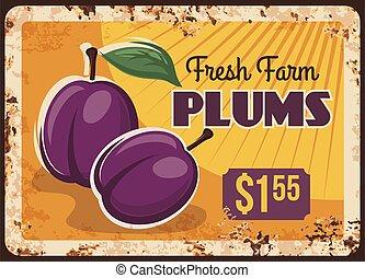 ferme, plaque, prunes, métal, fruits, rouillé, marché nourriture
