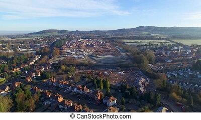 ferme, prise vue aérienne, village